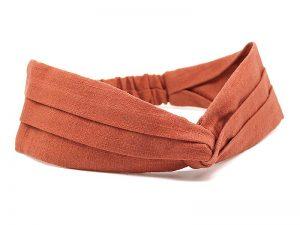 Le Coq en Pap' - Bandeau rouge rouille uni en lin