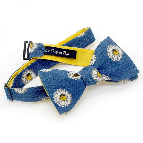 Le Coq en Pap' - Noeud papillon bleu jean et fleuri marguerites