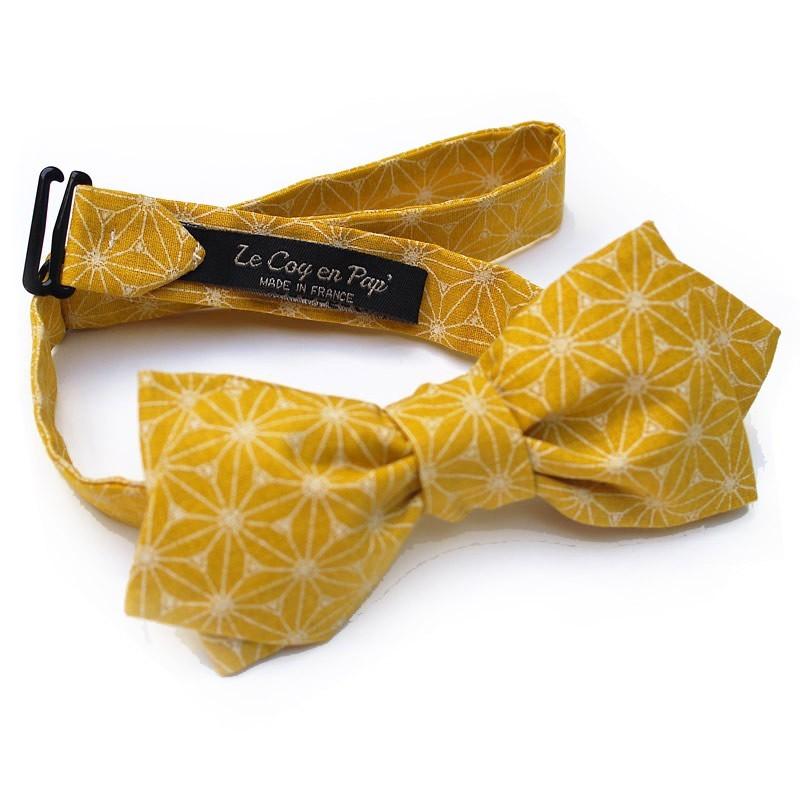 fc294bd2a3ec3 Le Coq en Pap' - Noeud papillon jaune moutarde japonais fuji