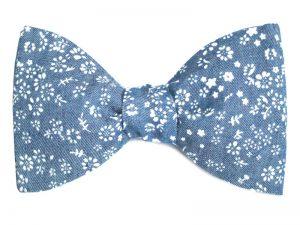 Le Coq en Pap' - Noeud papillon bleu turquin chambray fleuri