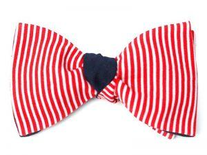 Le Coq en Pap' - Noeud papillon rouge et blanc rayé revers bleu marine marin