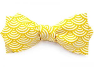 Le Coq en Pap' - Noeud papillon jaune citron japonais seigaiha