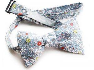 Le Coq en Pap' - Noeud papillon gris fleuri liberty june's meadow f