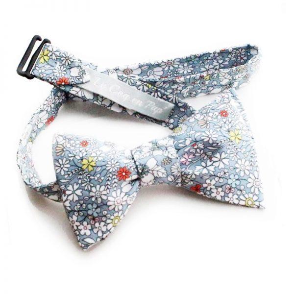 Le Coq en Pap' - Noeud papillon gris fleuri liberty june's meadow