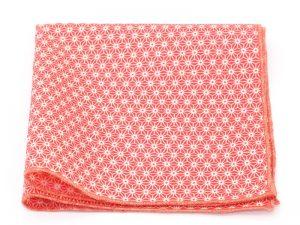 Le Coq en Pap' - Pochette de costume rouge fraise japonais petit motif