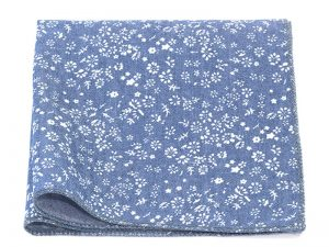 Le Coq en Pap' - Pochette de costume bleu chambray turquin fleuri