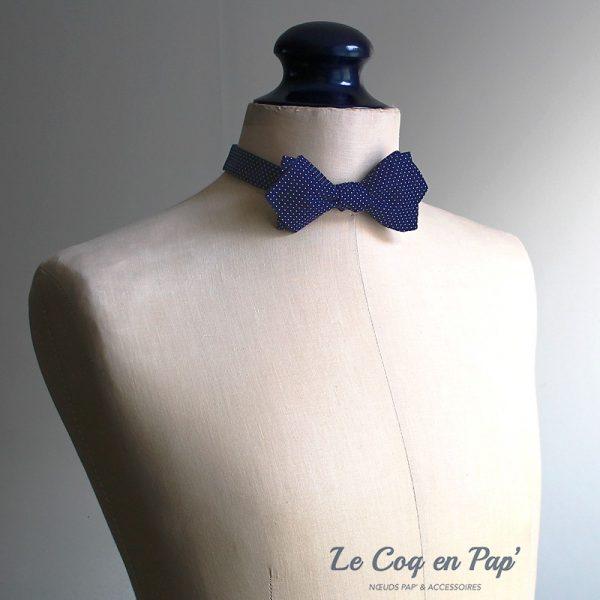 Le Coq en Pap' - Noeud papillon bleu nuit à pois