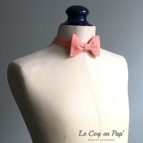 Le Coq en Pap' - Noeud papillon orange mandarine croissant