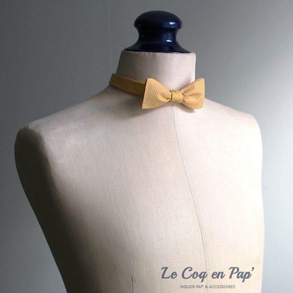Le Coq en Pap' - Noeud papillon jaune moutarde à pois