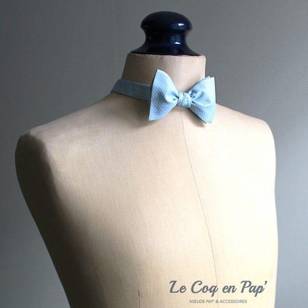 Le Coq en Pap' - Noeud papillon bleu ciel à pois