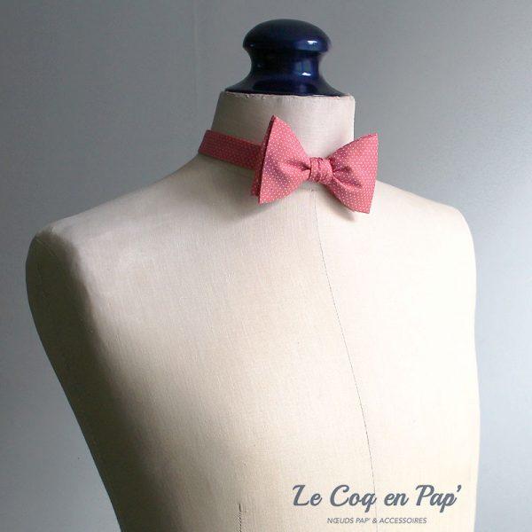 Le Coq en Pap' - Noeud papillon rose corail à pois