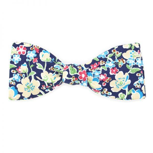 Le Coq en Pap' - Noeud papillon bleu marine fleuri liberty john c