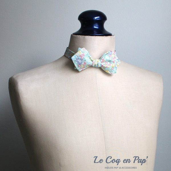 Le Coq en Pap' - Noeud papillon fleuri liberty michelle b