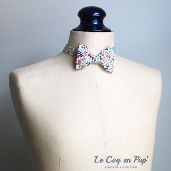 Le Coq en Pap' - Noeud papillon fleuri liberty silver bells