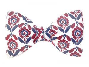 Le Coq en Pap' - Noeud papillon rouge bordeaux bleu pétrole et fond blanc liberty