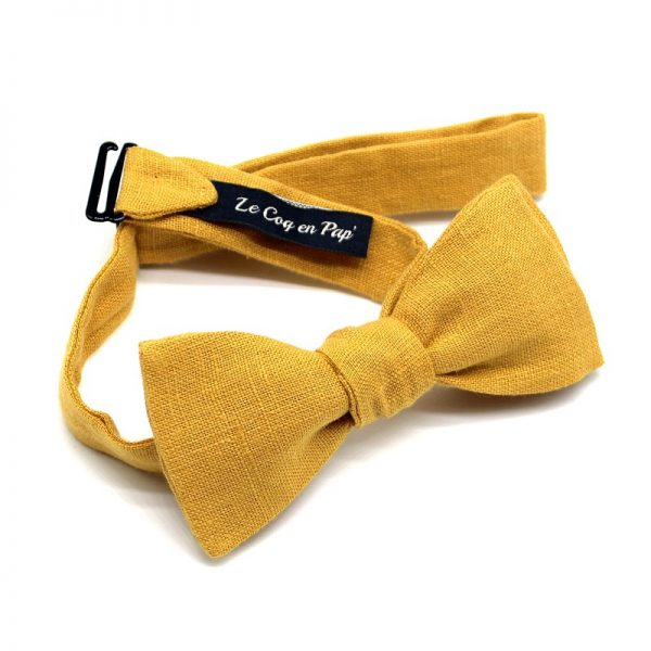 Le Coq en Pap' - Noeud papillon jaune moutarde uni en lin