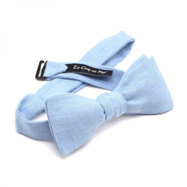 Le Coq en Pap' - Noeud papillon bleu ciel uni en lin