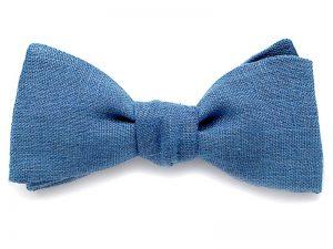 Le Coq en Pap' - Noeud papillon bleu stone uni en lin