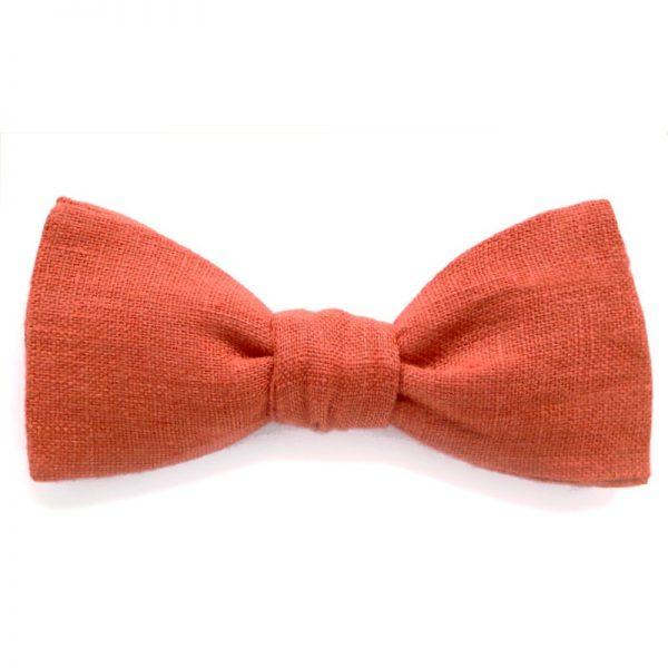 Le Coq en Pap' - Noeud papillon rouge rouille uni en lin