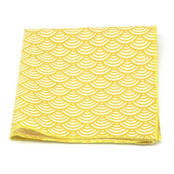 Le Coq en Pap' - Pochette de costume jaune citron japonais seigaiha