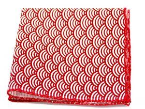 Le Coq en Pap' - Pochette de costume rouge cardinal japonais seigaiha