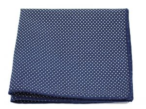 Le Coq en Pap' - Pochette de costume bleu nuit à pois