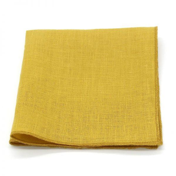 Le Coq en Pap' - Pochette de costume jaune moutarde uni en lin
