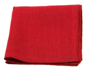 Le Coq en Pap' - Pochette de costume rouge grenat uni en lin