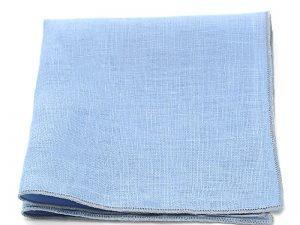 Le Coq en Pap' - Pochette de costume bleu ciel uni en lin