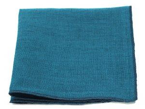 Le Coq en Pap' - Pochette de costume bleu canard uni en lin