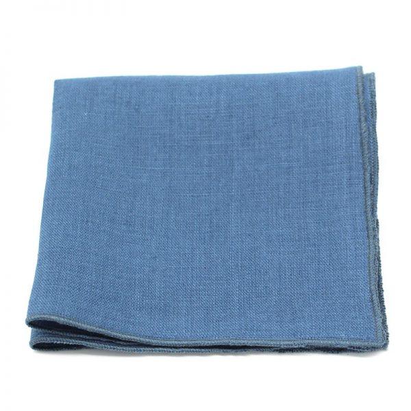 Le Coq en Pap' - Pochette de costume bleu stone uni en lin