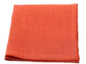 Le Coq en Pap' - Pochette de costume rouge rouille uni en lin