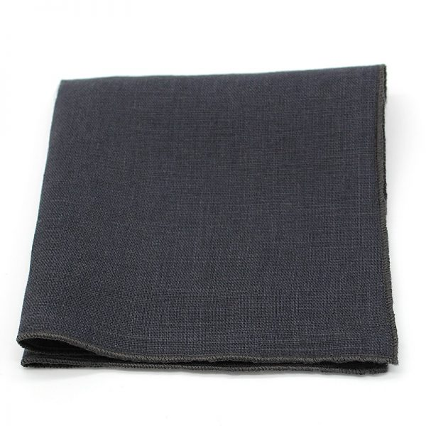 Le Coq en Pap' - Pochette de costume noir carbone uni en lin
