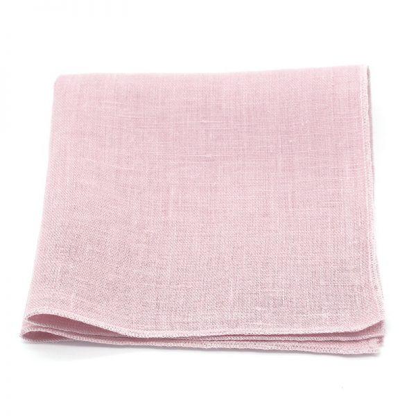 Le Coq en Pap' - Pochette de costume rose poudré uni en lin