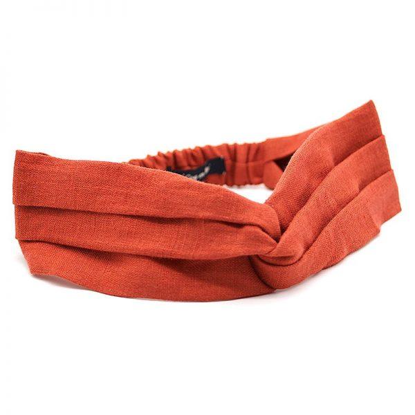 Le Coq en Pap' - Bandeau turban rouge rouille uni en lin