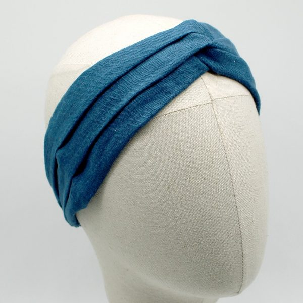 Le Coq en Pap' - Bandeau turban bleu canard uni en Lin
