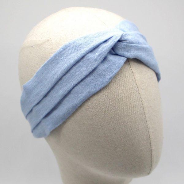 Le Coq en Pap' - Bandeau turban bleu ciel uni en Lin