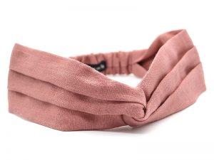 Le Coq en Pap' - Bandeau turban vieux rose uni en lin