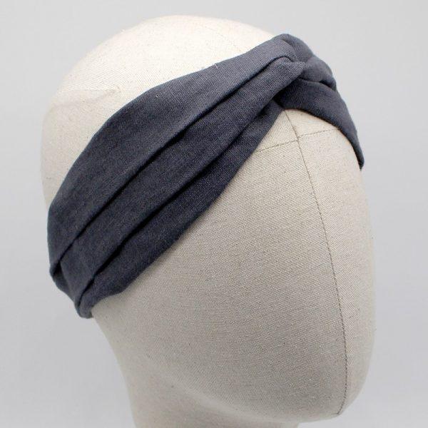 Le Coq en Pap' - Bandeau turban noir carbone uni en lin