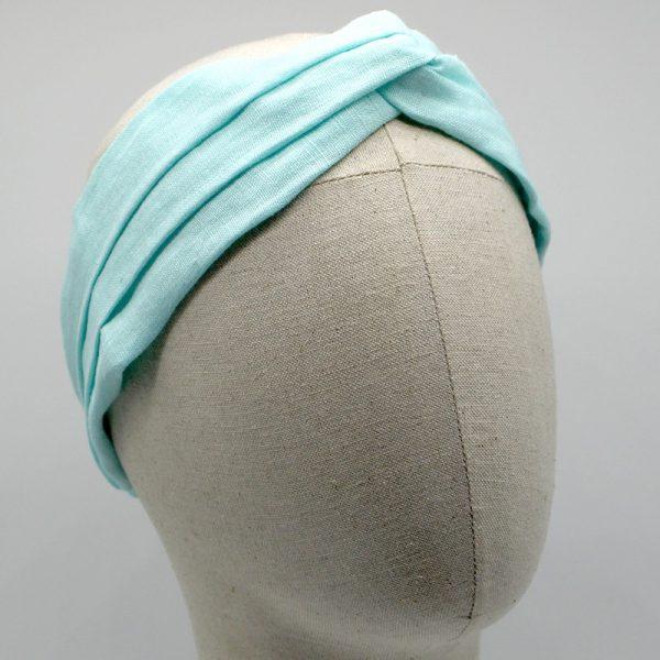 Le Coq en Pap' - Bandeau turban vert menthe uni en lin