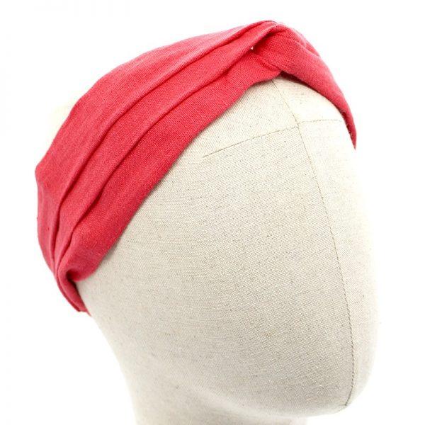 Le Coq en Pap' - Bandeau turban rouge grenadine uni en lin