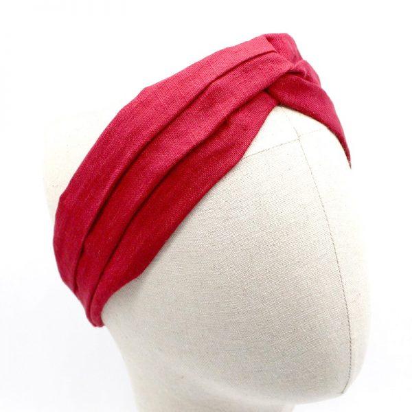 Le Coq en Pap' - Bandeau turban rouge grenat uni en lin