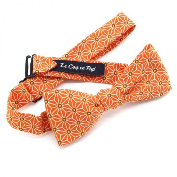 Le Coq en Pap' - Noeud papillon orange tangerine japonais saki