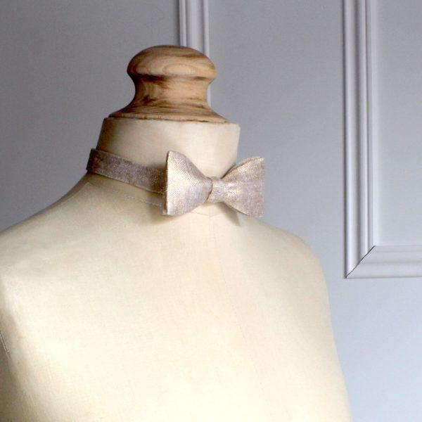 Le Coq en Pap' - Noeud papillon Champagne uni en lin