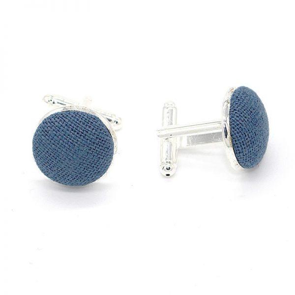Le Coq en Pap' - Boutons de manchette bleu stone uni en lin