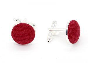 Le Coq en Pap' - Boutons de manchette rouge grenat uni en lin