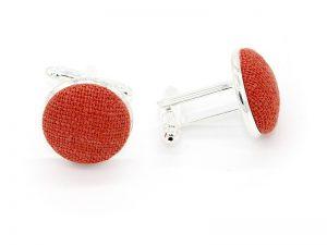 Le Coq en Pap' - Boutons de manchette rouge rouille uni en lin