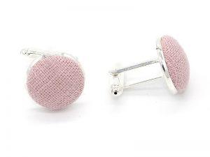 Le Coq en Pap' - Boutons de manchette rose poudré uni en lin
