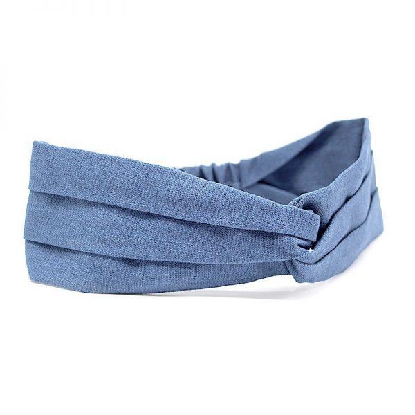 Le Coq en Pap' - Bandeau turban bleu stone uni en lin