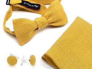Le Coq en Pap' - Coffret noeud papillon jaune moutarde uni en lin